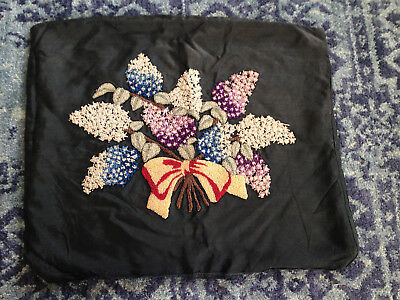 Vintage Pillow Cover Hand Hooked Mourning Pillow Needlework Tapestry Hyacinth ~