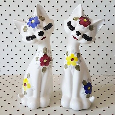 vintage retro kitsch ceramic japan eyelash cat kitty salt and pepper shakers