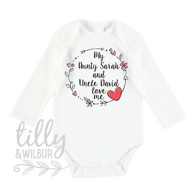 My Aunty And Uncle Love Me Baby Bodysuit For New Arrival Nieces, Auntie & Uncle