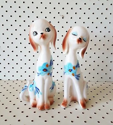 Vintage retro kitsch ceramic japan dog salt and pepper shakers