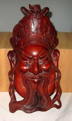 Antique 19c Chinese Handcarved Heavy Wood Men Mask