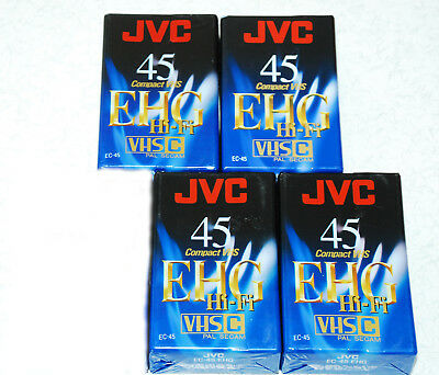 4 x NEW SEALED JVC EHG-45 VHS-C Camcorder Tapes  #SundayMarket
