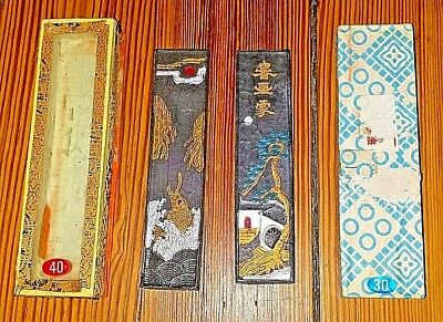 2 Antique Quality Old Chinese Black Ink Sticks  Chinese Marks colorful Paintings