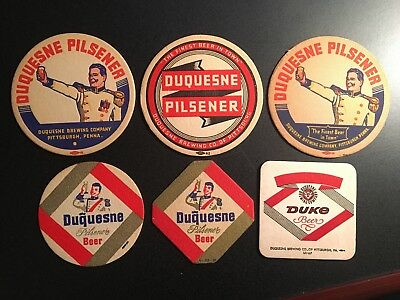 Collection of six vintage Duquesne/Silver Top Beer Coasters - Great condition