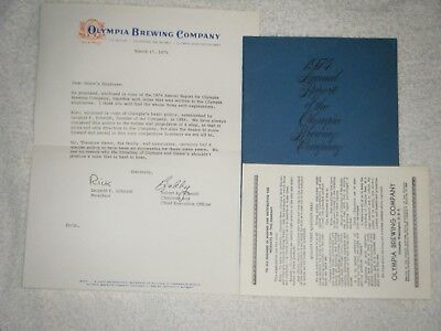 1974 Olympia Brewery annual report 1975 letter to Hamm's brewery Employees