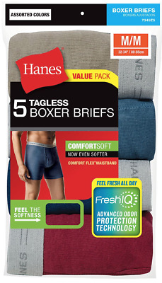 5pk Hanes TAGLESS Boxer Briefs M,L,XL Comfort Soft With Flex Waistband, Assorted