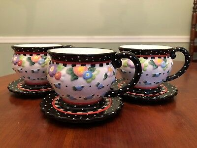 Mary Engelbreit Set of 3 Cherries Teacups and Saucers