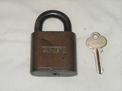 Antique / Vintage Solid Brass Sargent Padlock With Key