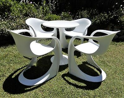 Vintage Retro mid century white patio setting 4 Casala chairs and Tulip Table