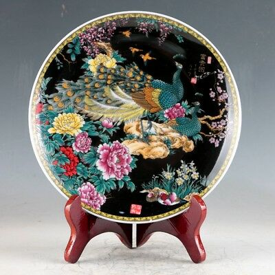 Chinese Porcelain Handmade Peacock & Peony Plate W Qianlong Mark XPZ038