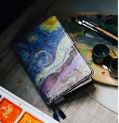 A5 A6 Hobonichi Planner Cover Faux Leather Artist Series Van Goah's Starry Night