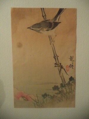 * Japanese woodblock color print * sparrow on bamboo by lotus flower