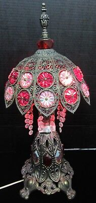 Vintage / Antique Metal Jeweled Victorian Art Nouveau Style Table Lamp Stunning!
