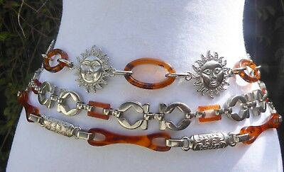 Vtg,Three Different Style Silver Tone Metal & faux.Tortoise Shell Chain Belts