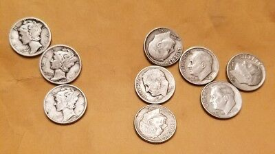Lot of 9 silver dimes 3 Mercury dimes and 6 Roosevelt Dimes