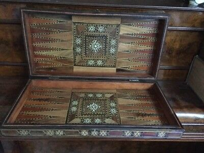 Antique Wooden Box Rare Lacquer Inlaid Large Arab 1889s  50cm Handcrafted
