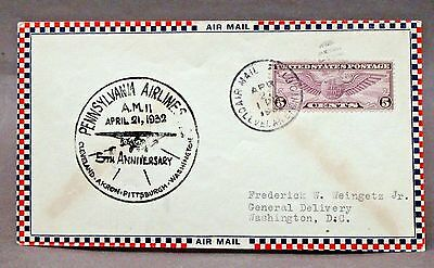 April 21 1932 PENNSYLVANIA AIRLINES 5th Anniversary CACHET envelope cover