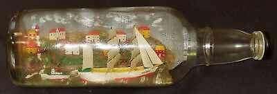 Vintage - Folk Art - Village, Sea And Sailing Ships In A Glass Bottle Of Whisky