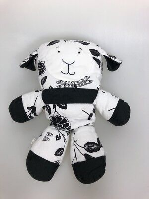 Pottery Barn Kids lamb sheep floral dragonfly black and white canvas plush