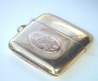 Lovely, Solid 9ct Gold Vesta Case In Excellent Condition For Age.