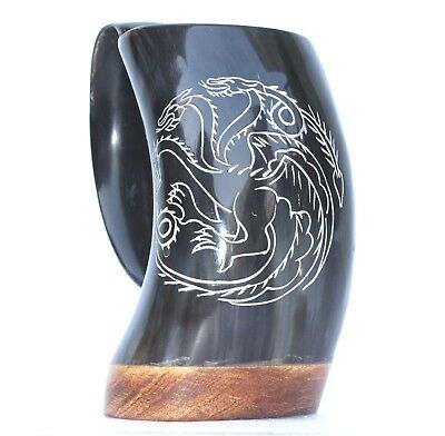 Game of thrones Targaryen house carved Viking Drinking Horn ale mead Mug Tankard
