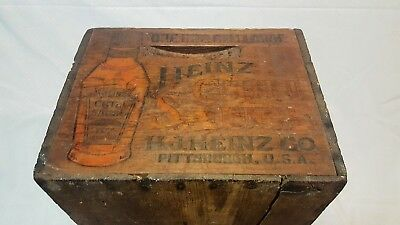 Vintage Antique Wood Heinz Chili Sauce Bottle Shipping Crate Box Ketchup Mustard