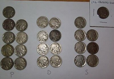 25 Buffalo Nickels - 1916-38 Most Early Dates - P-D-S Mints Rotated Die