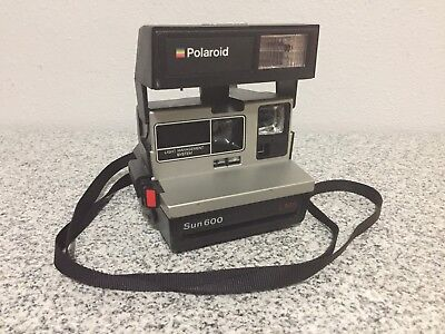 Vintage Polaroid Sun 600 LMS Instant Camera With Strap Fully Tested and Working
