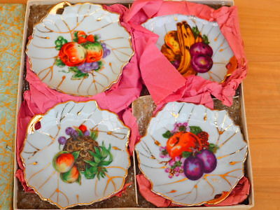 Vintage Old Small China Plated Set 'x4' In Box (H211)