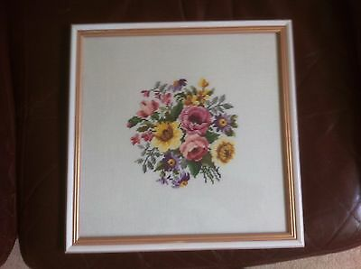 Vintage Framed in glass Floral Posy Counted cross stitch.34 cm x 34 cm