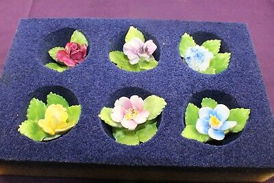 Vintage Royal Adderley Bone China Floral Place Card Holders Marked Set of 6 Pce