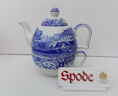 Spode Blue Italian Teapot For One & Large Breakfast Cup Integral