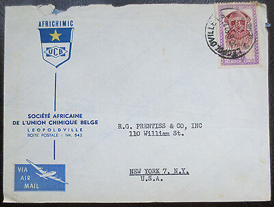Air mail envelope from Belgian Congo with stamp
