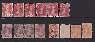 Tasmania - colection of 1d red chalons, 6d violets and 1/- orange, used, perfed
