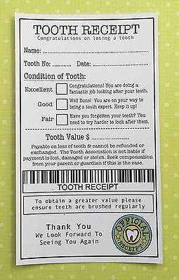 Tooth Receipt x 2 - Tooth Fairy Certificate - Fairy Door Accessories - Blue