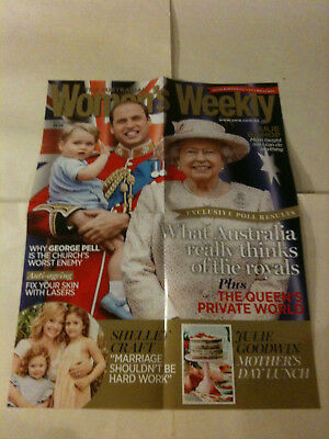 "QUEEN ELIZABETH, WILLIAM 'Women's Weekly' Aus Magazine Promo Poster 22"" x 16"""