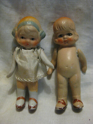 """2 Vintage 4"""" Composition / Bisque Dolls- Jointed Arms"""