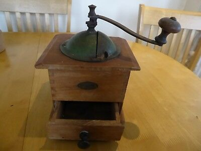 Vintage French Peugeot Freres Coffee Grinder Wood and Green