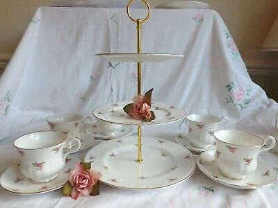 Pretty Vintage Bone China  Ditsy Pink Rosebud Set Of 5 Duo's & Cake Stand