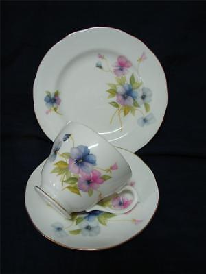 Vintage DUCHESS bone china Trio Cup saucer plate PANSY pattern High Tea