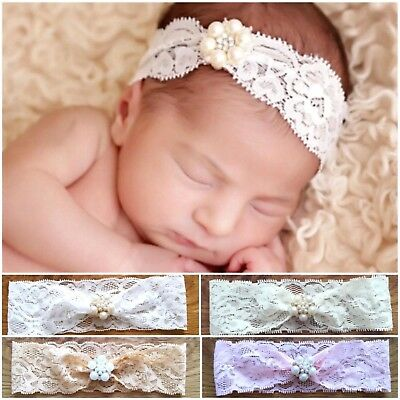Blink Rhinestone Lace Baby Newborn Hair Band Baptism Wedding Christening