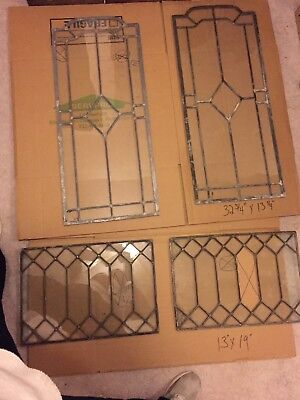 4 antique beveled leaded glass windows 2 matching pairs clear Arch Top Diamond