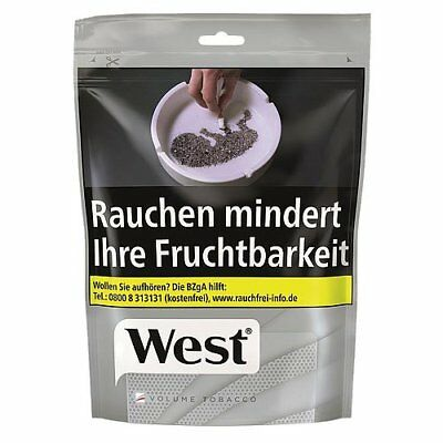 NEU 3 X West Silver Volumen Tabak 160 Gramm Beutel +1000 West Hülsen+ West Etui