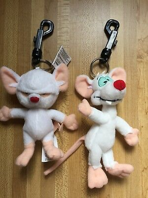Vintage Animaniacs Pinky & The Brain Plush Clip On Keyring Set NEW Warner Bros
