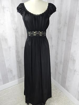 1970s Shadowline NIGHTGOWN NEGLIGEE LINGERIE LACE FULL Hollywood Silky Black S/M