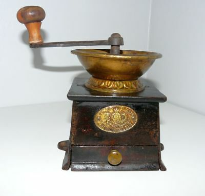 Antique A Kenrick & Sons Brass and Cast Iron Coffee Mill or Grinder Used