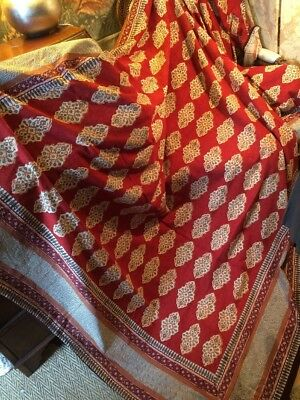 60's Indian Printed Cotton Bedspread 105 Insx68 Lgth. Good. Lovely Colours