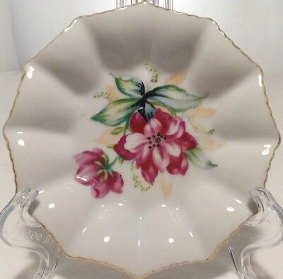 Vintage Superior Japan Gold Rim Mauve Flower Pin Butter Dish