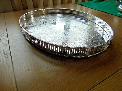 Large Vintage Garrard Silver Plated on Copper Oval Gallery Tray