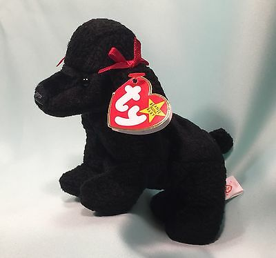Retired GiGi™ Black Poodle Puppy Dog Ty Beanie Baby 1997 NEW MINT with Mint Tags